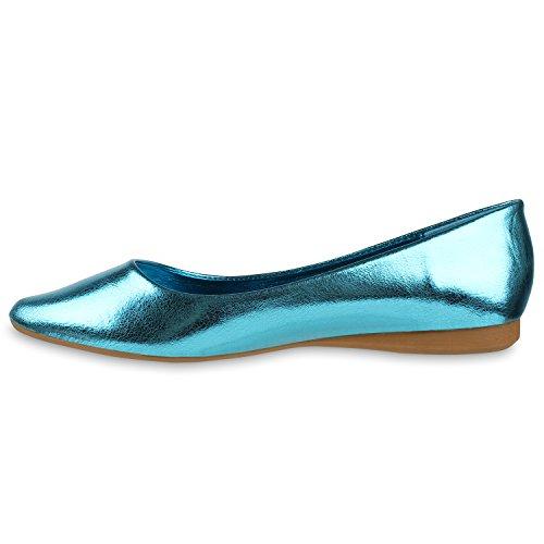 Klassische Damen Ballerinas Metallic Schuhe Spitze Schuhspitze Türkis