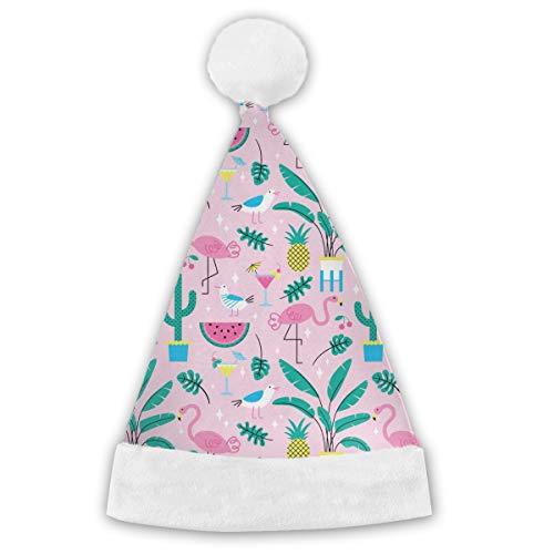Nahtlose Sommer tropischen Muster mit niedlichen Flamingos und Pflanzen Weihnachtsmütze Weihnachten Weihnachtsmütze kurzen Plüsch mit weißen Manschetten Plüsch Weihnachtsmütze für Erwachsene 2PCS