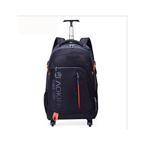 Zaino impermeabile all'aperto Pull Backpacking Business Travel Notebook Zaini Capacità Ultra leggera Caster , Black , 18 inches