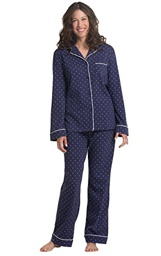 PajamaGram Womens Oh-So-Soft Pin Dot Boyfriend Pajamas