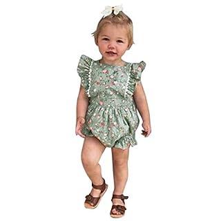 Fenverk MäDchen T-Shirt GroßE Schwester Sterne Bruder Geburt Baby Kleinkind Kinder VerfüGbar äRmellose RüSchen Blumendruck RüCkenfreies Kleid Kleidung(Grün-02,6-12 Monate)