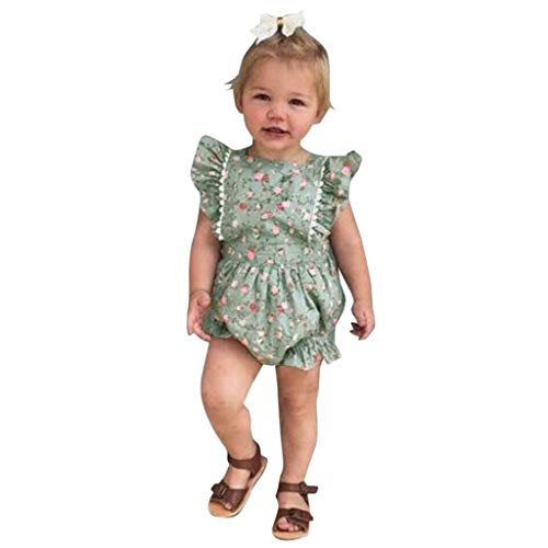 Fenverk MäDchen T-Shirt GroßE Schwester Sterne Bruder Geburt Baby Kleinkind Kinder VerfüGbar äRmellose RüSchen Blumendruck RüCkenfreies Kleid Kleidung(Grün-02,12-18 Monate)