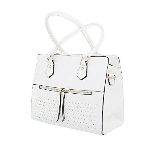 iTal-dEsiGn Damentasche Mittelgroße Schultertasche Handtasche Kunstleder TA-K688 Weiß