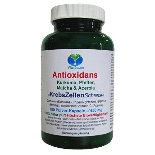 Antioxidans, Kurkuma, Pfeffer, Matcha & Acerola, 180 Pulver-Kapseln a 450mg, #25258
