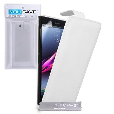 Yousave Accessories se-ha01-z630Klappetui aus PU/Leder für Sony Xperia Z Ultra weiß
