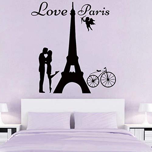 Yzybz Engel Liebe Paris Wandaufkleber Liebhaber Kissing Home Decor Bike Wandtattoos Romantische Wandkunst Wandbilder Schlafzimmer Dekoration