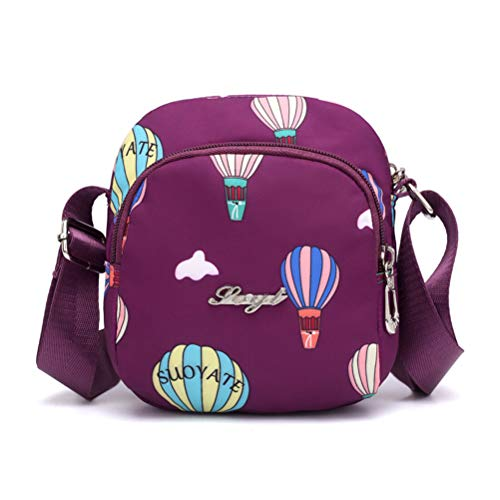 Damen Frauen Vintage Drucken Nylon Handtasche Elegant Mini Einzelne Umhängetasche Damentasche Ledertasche Outdoor Messenger Tasche für Frauen (Lila Ballon) -