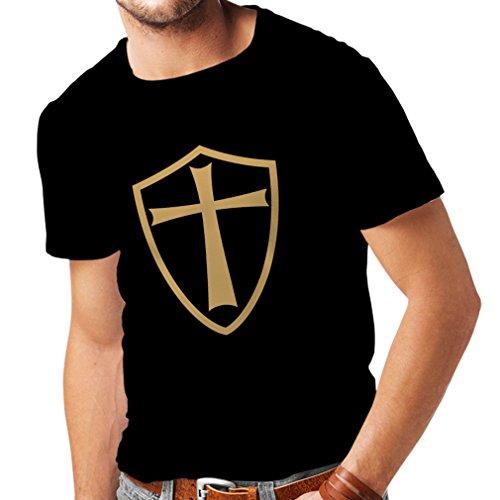 lepni.me Männer T-Shirt Ritter Templer - Die Templer Schild Christian Ritter Ordnung (XXXX-Large Schwarz - Bibel-figur-kostüme