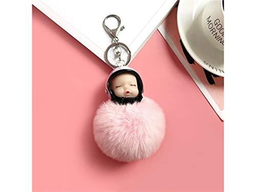 Huihuger Keyring Morbido Peluche Portachiavi Moto Casco Sonno Bambola Portachiavi Signore Bag Auto Ornamenti (Nero) (Colore : Pink, Dimensione : 16x8cm)
