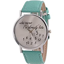 Stylish Watch Who Cares I'm Already Late Leather Watches Blue