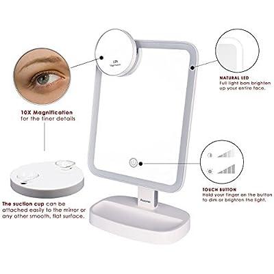 Auxmir Kosmetikspiegel LED Tischspiegel Rasierspiegel Schminkspiegel Beleuchtet mit Blendfreier Bleuchtung und Dimmbarer Heilligkeit für Schminken, Rasieren und Gesichtspflege