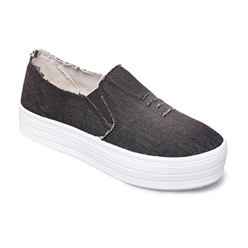 La Modeuse Baskets de Type Slip-On en Jeans Destroy Noir