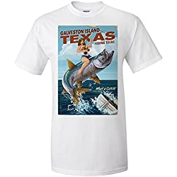 Galveston Island, Texas - Pinup Girl Tarpon Fishing (Premium T-Shirt)