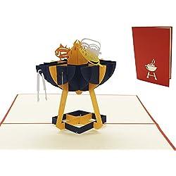 LIN17499, POP- UP Karten, POP UP Karten Geburtstag, Grillparty Einladung, Grill Gutschein, 3D Grußkarten, Geburtstagskarte, Klappkarte, Vatertag, Grill Party Einladung, Gutschein Geschenk, Grillanlage, N272