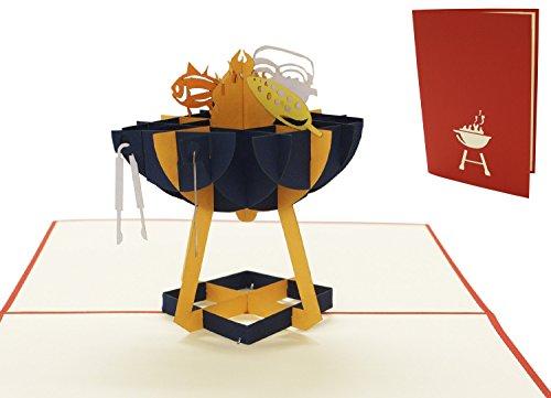 LIN - POP- UP Karten, POP UP Karten Geburtstag, Grillparty Einladung, Grill Gutschein, 3D Grußkarten, Geburtstagskarte, Klappkarte, Vatertag, Grill Party Einladung, Gutschein Geschenk, Grillanlage, N272
