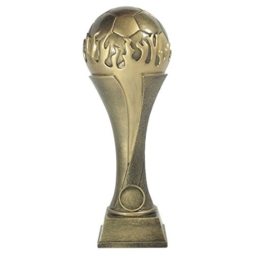 Large 24cm Personalised 3D Resin Antique Gold Football Tower Trophy Award  Free Engraving - Enter Your Own Custom Text