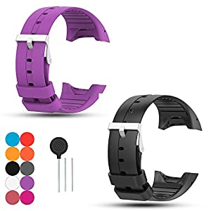 iFeeker 2Pcs Polar M400 Watch Bands, Polar M430 Watch Straps, Accessory Soft Silicone Rubber Replacement Watch Band Wrist Straps Sport Bracelet for Polar M400/M430 Unisex Adult GPS Running Watch