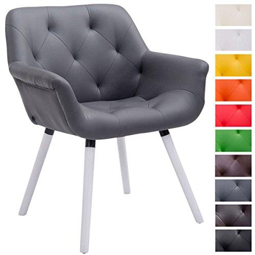 CLP Besucher-Stuhl CASSIDY, Kunstleder-Bezug, belastbar bis 150 kg, Retro-Stuhl mit Armlehne, sesselförmiger Sitz, gepolstert, Sitzhöhe 45 cm grau, Holzgestell Farbe weiß