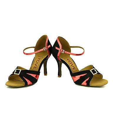 Scarpe da ballo-Personalizzabile-Da donna-Balli latino-americani / Salsa-Tacco su misura-Brillantini-Blu / Rosa / Rosso / Argento / Dorato Red