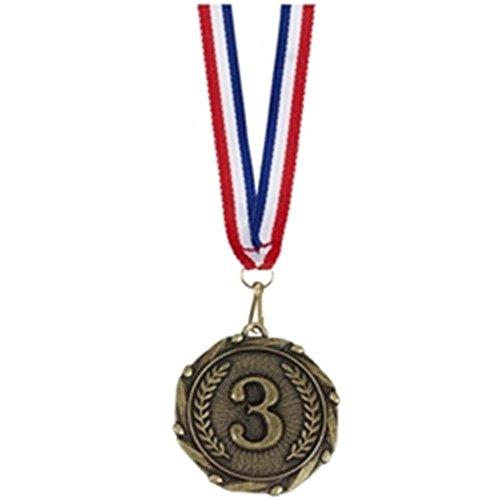 45mm Combo 3. Platz Medaille Gold mit Schleife Plus Gratis Gravur bis zu 30Buchstaben am903g (Gold-medaille-combo)