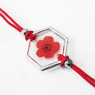 Bracelet géométrique Théa rouge en résine et fleurs - Bijou nature en fleurs séchées