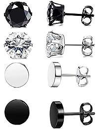 7b3f635c1 4-6Pairs Stainless Steel Stud Earrings for Men Women CZ Round Earrings Black  6mm-