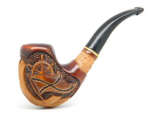 tobacco-smoking-pipe-pirate-carved-of-pear-wood-bras-incrustation-great-collectible-pouch-by-drwatso