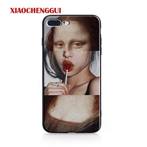 SGFGH&MM Lustige Parodie Kunst Cases Für iPhone X Xr XS Max Van Gogh Sternenklar Harte Telefonabdeckung Für iPhone 5 5S Se 6 6S Plus 7