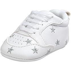 Tefamore Zapatos Bebé Ocasionales Zapatillas de Deporte del Niño del Vendaje de la Forma del Amor del Bordado del Suavemente Calza (12, Plata 2)