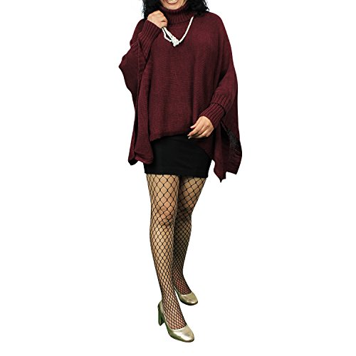 Damen Strick-Poncho Pulli winter Mantel Damen Pullover Top JY-3 PO201601 15026a7 Dunkel Rot