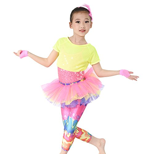 MiDee 3 Stück Paillettenbesetzte Hohe Taille Leggings Tanz Kostüm Hip - Hop - Outfits (Neon Farben, (Hop Tanz Hip Wettbewerb Kostüme)