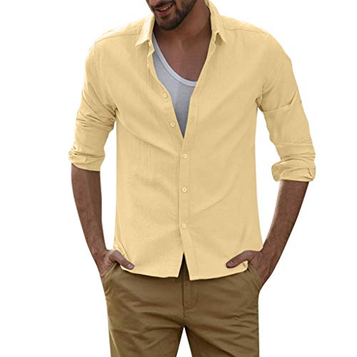 DNOQN Running Shirt Herren T Shirt Lange ärmel Herren Baggy Linen Blend Volltonfarbe Langarm Turn Down Kragen Shirts L