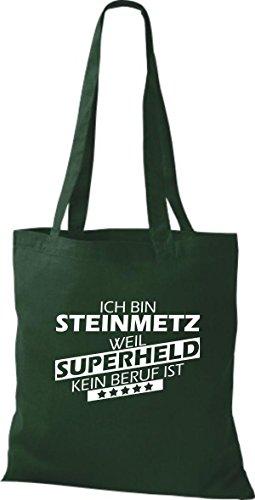 Shirtstown Stoffbeutel Ich bin Steinmetz, weil Superheld kein Beruf ist Grün