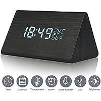 Reloj despertador Reloj digital de madera Triángulo LED Reloj de escritorio de alarma de madera con fecha y temperatura Control táctil por voz para niños adolescentes Hogar Dormitorios Oficina (negro)