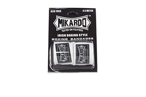 Mikardo Irisch-Stil mit Kickboxing Boxen Muay Thai MMA Hand Wraps 4,5m, weiß, 4.5 Metres in Length