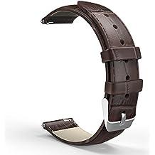 MoKo Correa de Reloj Universal - Reemplazo / Suave Cuero Auténtico Cocodrilo Watch Band Strap Wrist para Smart Watch Gear S3 Frontier / Asus Zenwatch 2 1.63 / LG Urbane, G Watch ( 22mm de Ancho ), Marrón