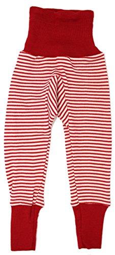 Cosilana Baby Hose lang mit Bund, Größe 86/92, Farbe Rot geringelt, 70 % Merinoschurwolle, 30 % Seide (Rote Wolle Hosen)