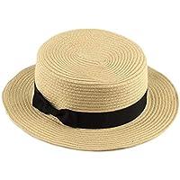 Delicacydex Diseño de Moda Niños Niñas Adulto Mujeres Summer Bloqueador Solar Sombrero Classic Tejido Straw Ladies Flat Top Beach Hat