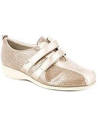 d25bd0fa7f Zapato Mujer Casual Marca DOCTOR CUTILLAS Abotinado Deportivo Piel elástica  Beige Cierre Dos velcros Plantilla Extraible