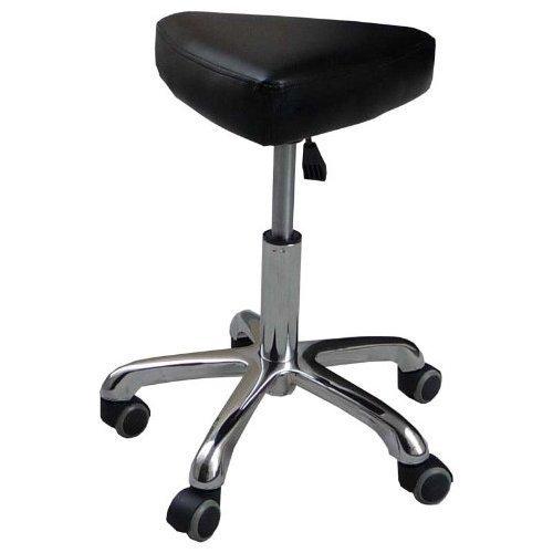12347 Kosmetikhocker Leder schwarz, Sitzhöhe stufenlos höhenverstellbar