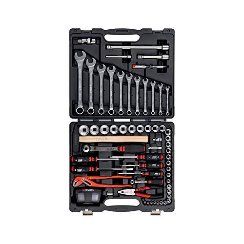 Würth Multifunktion-Werkzeugkoffer 91-teilig, 096593120, Profi-Werkzeugset, Schraubendrehern, Zangen, Umschaltknarre in 1/2 und 1/4 Zoll