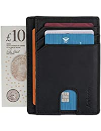 Wallet - RFID Blocking Credit Card Holder by Apricoco Minimalist Mini Pocket-Sized Card Holder for Men Full Grain Leather, Compact, Spacious & Slimline