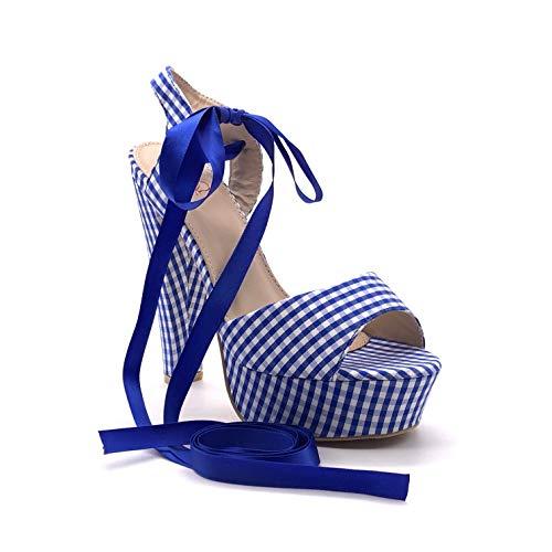Angkorly - Damen Schuhe Sandalen Pumpe - Hohe - Peep-Toe - Plateauschuhe - Vichy-Muster - Schnürsenkel aus Satin Trichterabsatz high Heel 14.5 cm - Blau 3183-L2 T 39 -