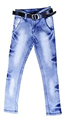 fourgee Boys Jeans with Belt (e1, Blue, 7 - 8 Years)