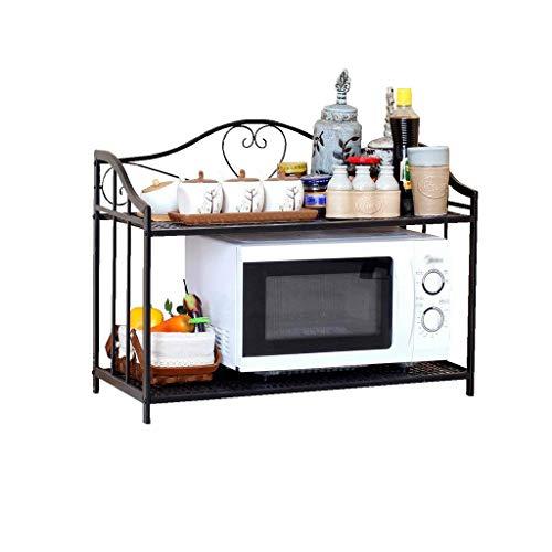 estante de la cocina Estante de la cocina del hogar Negro Estante del horno de microondas de 2 niveles Estante de almacenamiento del arte de hierro multifuncional Estante del estante del almacenamient