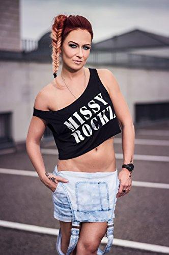 MISSY ROCKZ Crop Top Black One Shoulder Shirt Schwarz
