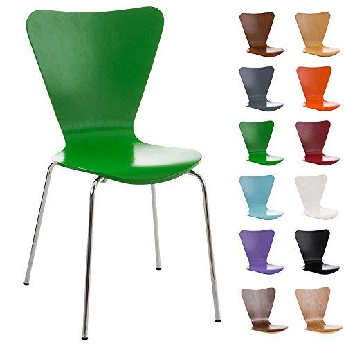 CLP Konferenzstuhl Calisto mit Holzsitz und stabilem Metallgestell I Platzsparender Stuhl mit Einer Sitzhöhe von: 45 cm Grün