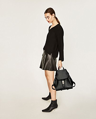 Sunas Borsa di corsa dello zaino dello studente della serratura del sacchetto di spalla dello zaino della donna di modo nero