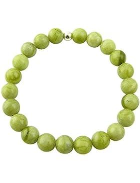 Sunsara Traumsteinshop Jade Nephrit Armband Edelstein Kugeln (Perlen) 8 mm und 925er Silberkugel Heilsteinarmband...