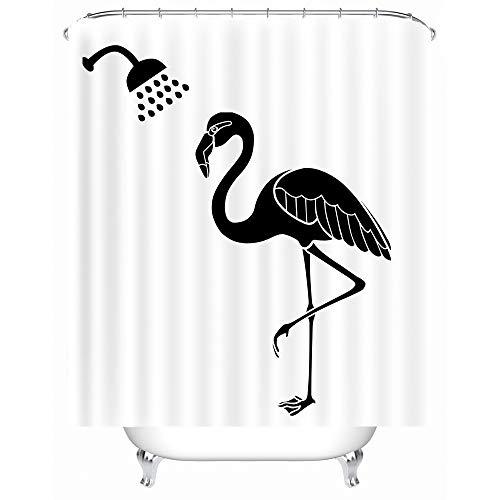 X-Labor Lustig Tier Schatten Duschvorhang 240x200cm Wasserdicht Anti-Schimmel Polyester Textil Stoff Badewannevorhang Shower Curtain Flamingo 240x200cm Polyester-textil